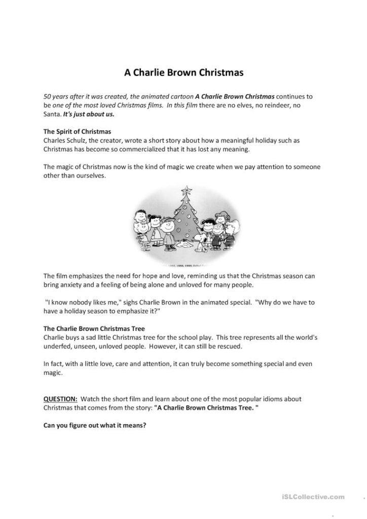 A Charlie Brown Christmas   English Esl Worksheets For