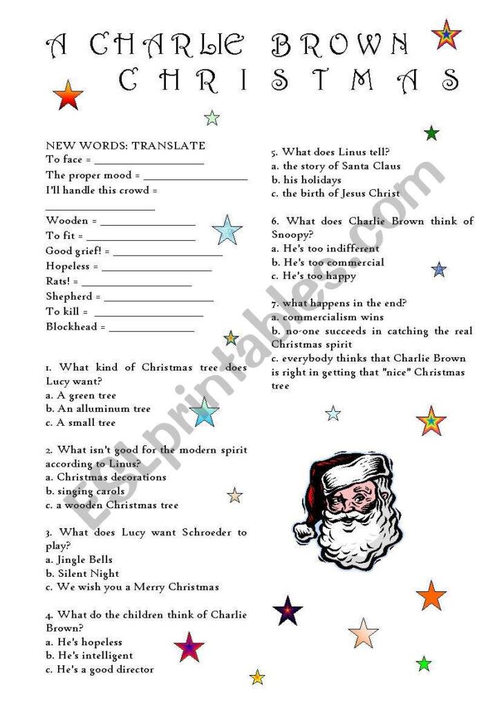 A Charlie Brown Christmas   Esl Worksheetcristina69