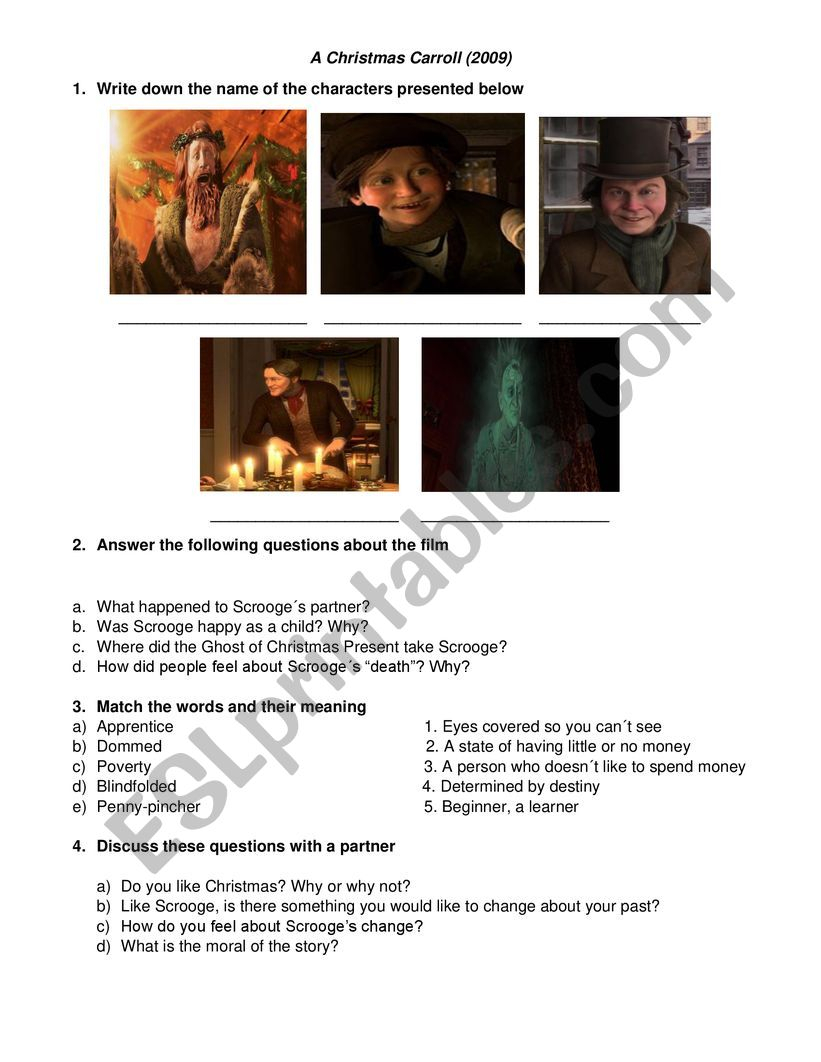 A Christmas Carol (2009 Movie) Worksheet - Esl Worksheet