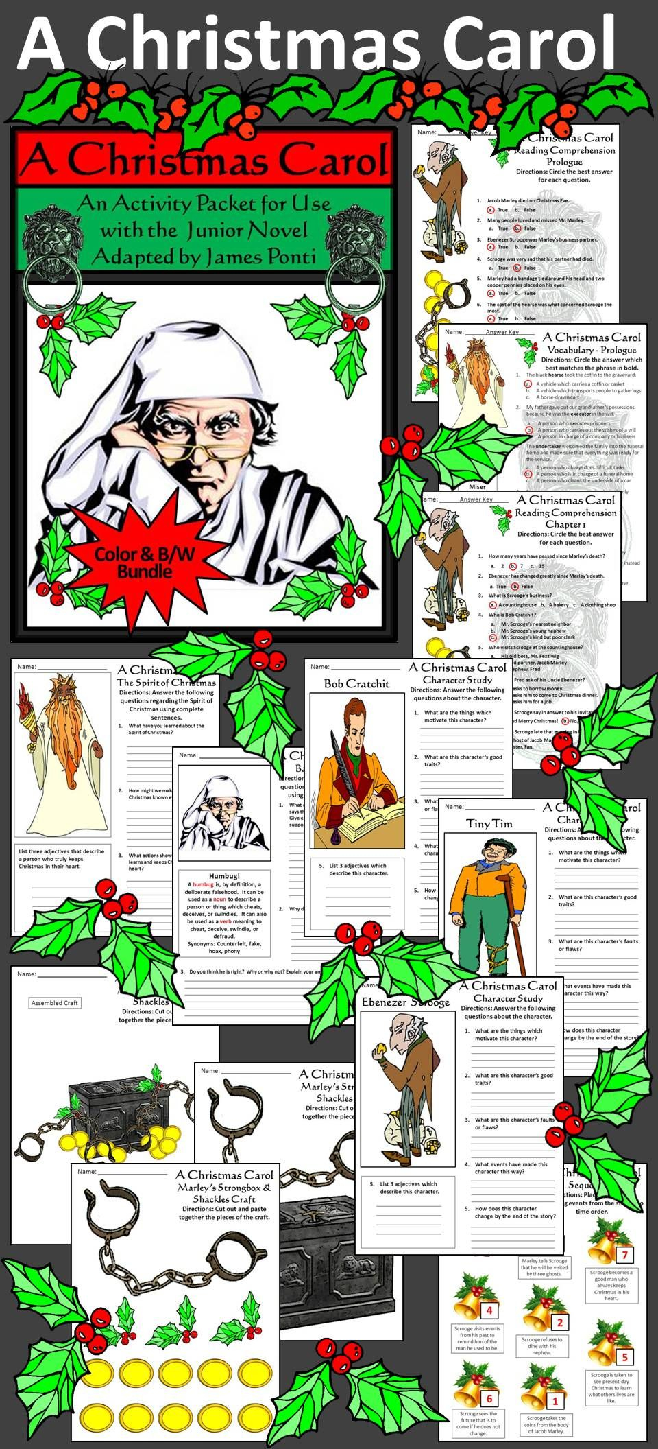 A Christmas Carol Activity Packet: Complements The Book, A