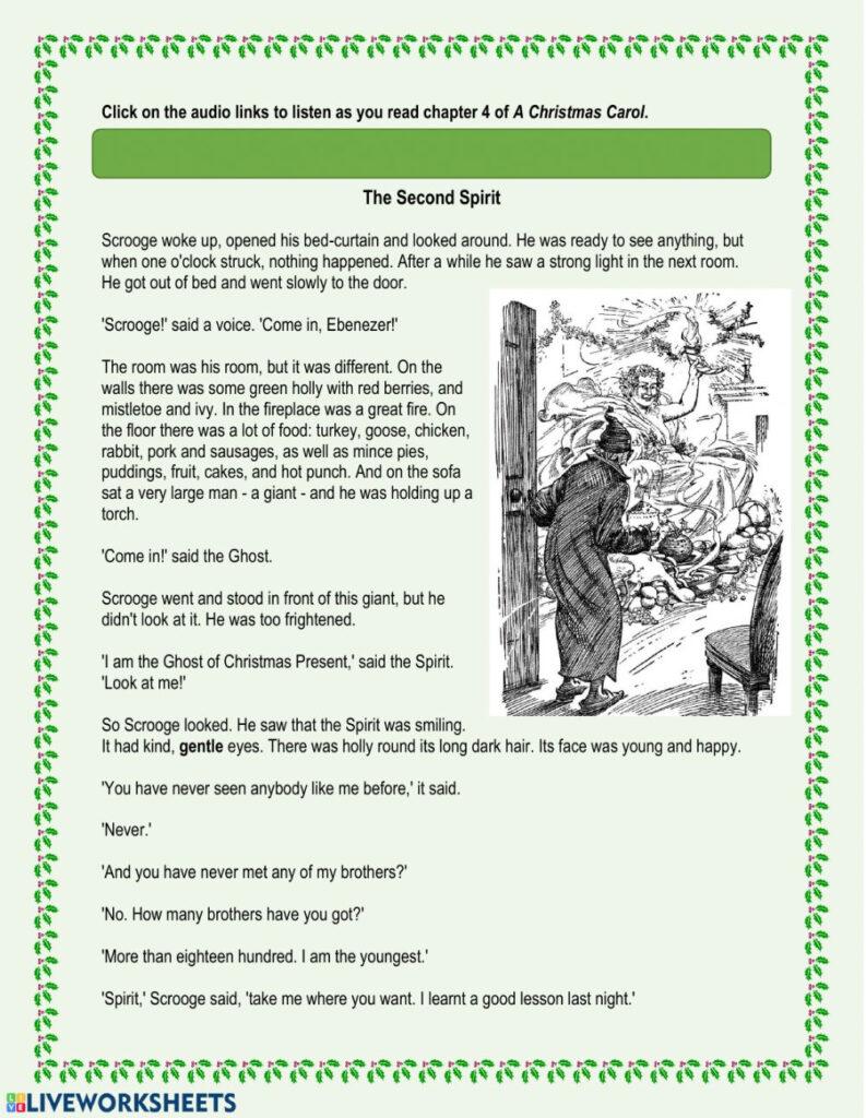 A Christmas Carol   Chapter 4 Worksheet