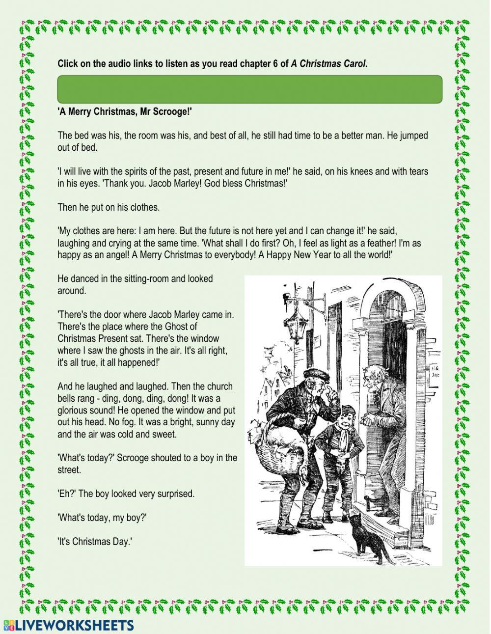 A Christmas Carol - Chapter 6 Worksheet