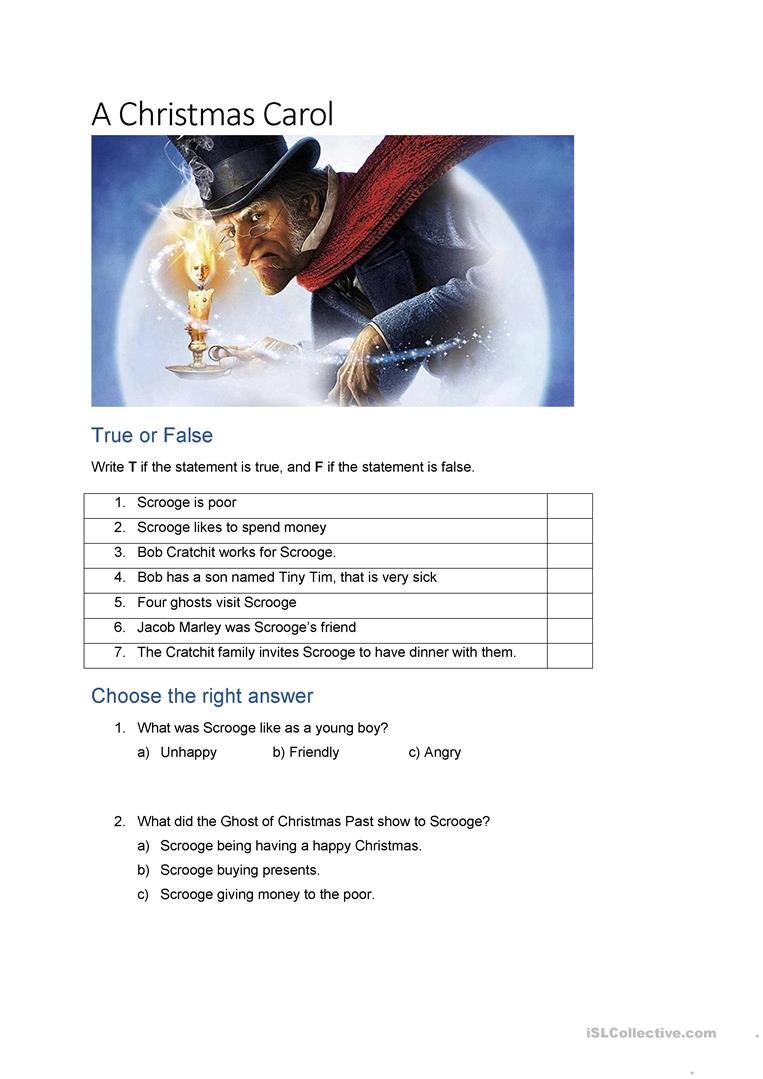 A Christmas Carol - English Esl Worksheets For Distance
