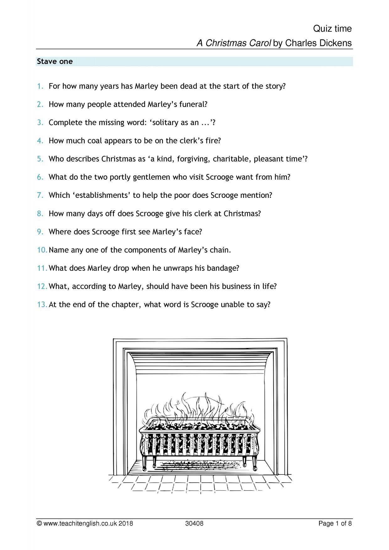 A Christmas Carol Quiz   Ks4