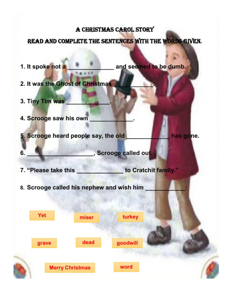 A Christmas Carol Story Interactive Worksheet