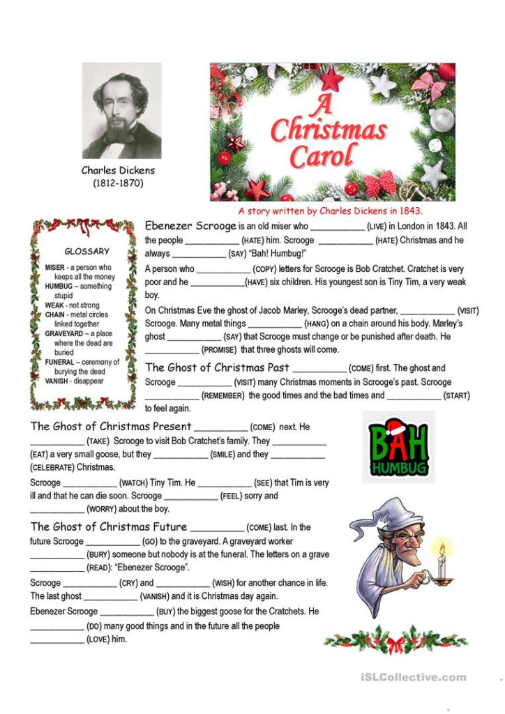 A Christmas Carol Summary Cloze   English Esl Worksheets For