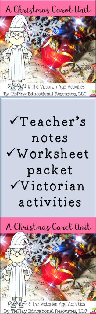 A Christmas Carol Unit Literacy Victorian Age Worksheet