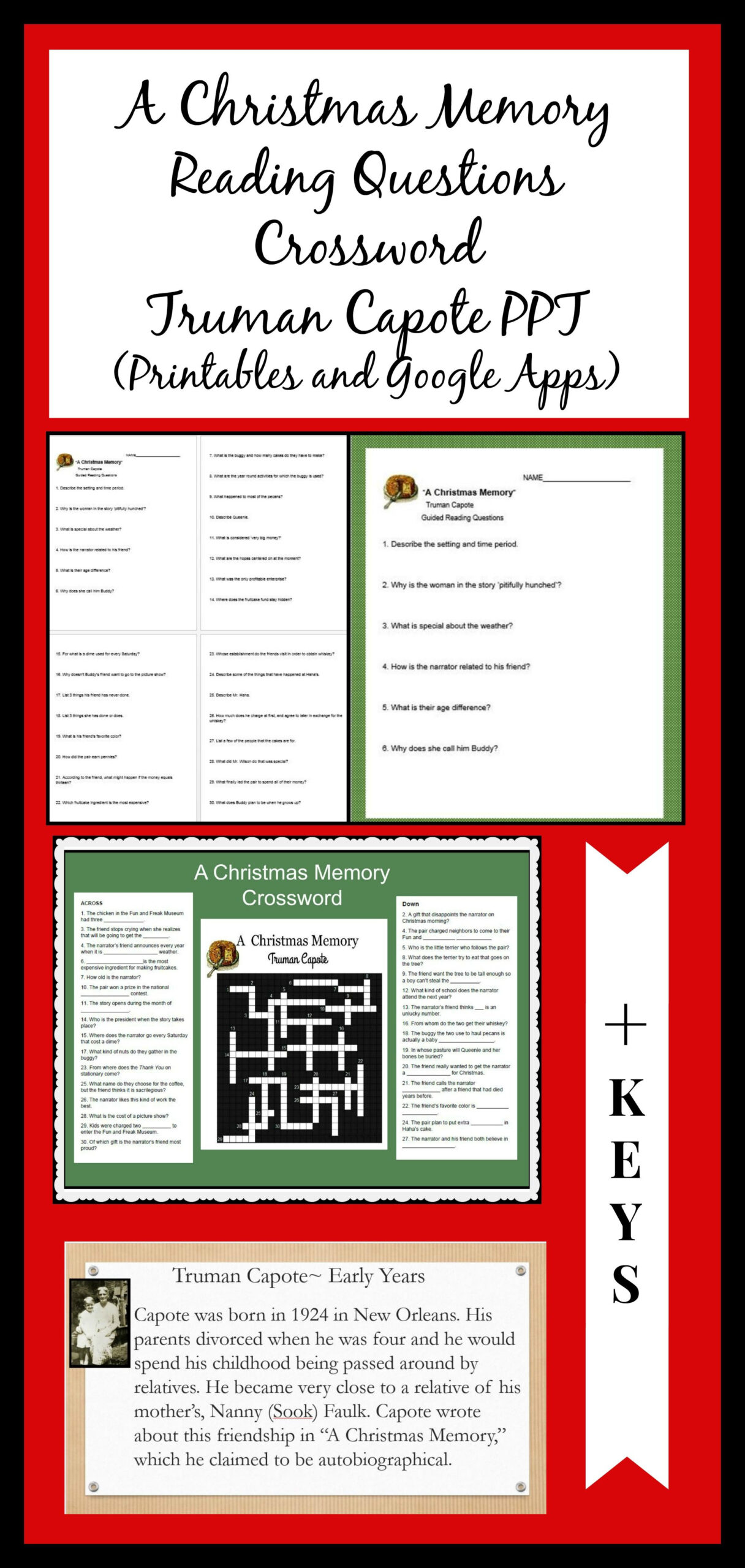 A Christmas Memory Mini-Bundle Of Reading Questions