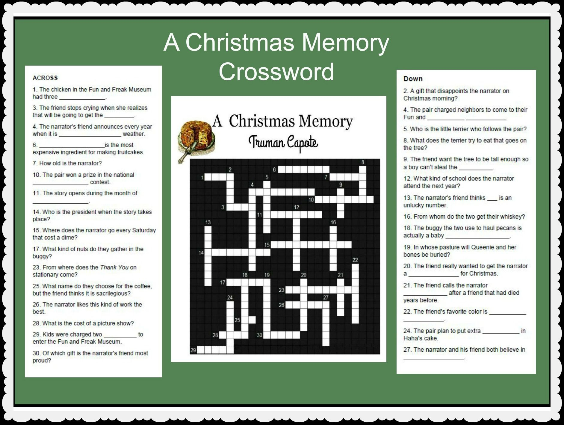 A Christmas Memorytruman Capote. A Lesson Activity To