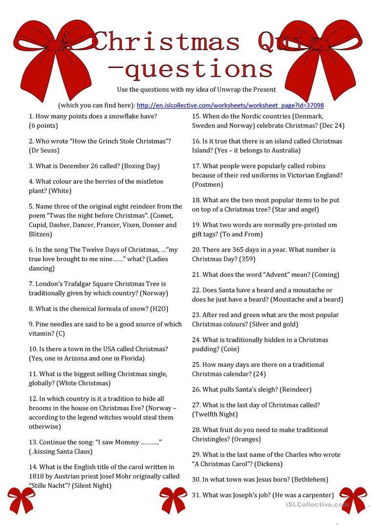 A Christmas Quiz Questions Worksheet Free Esl Printable