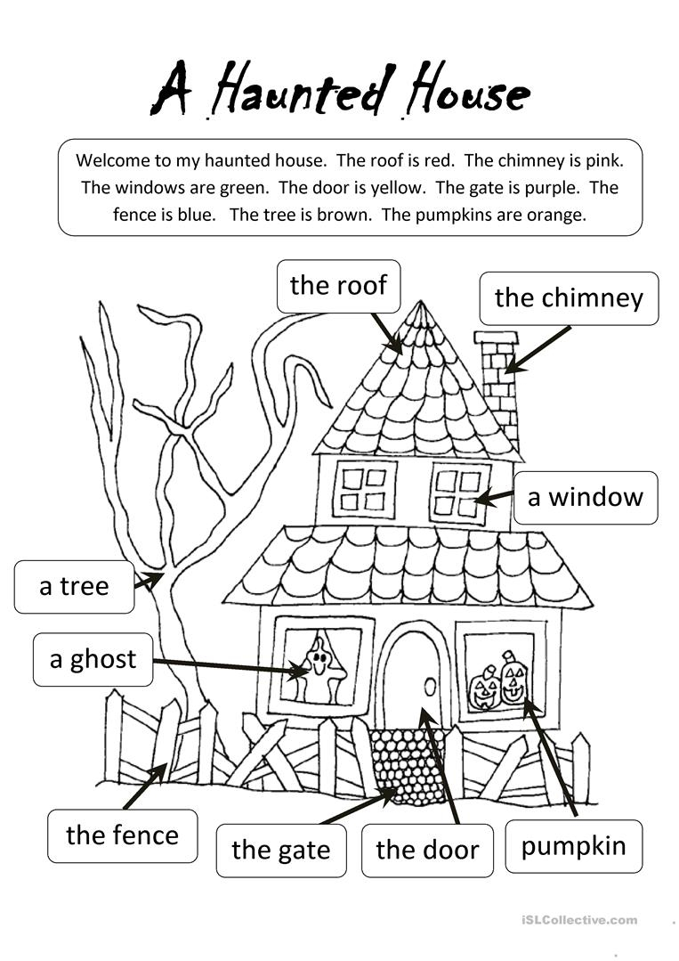 A Haunted House - English Esl Worksheets For Distance