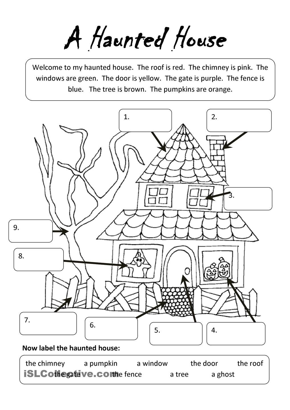 A Haunted House | Halloween Worksheets, Halloween Vocabulary