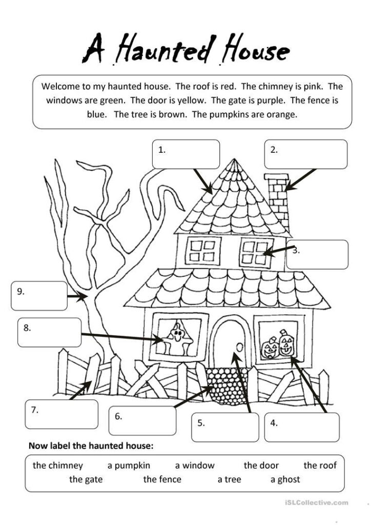 A Haunted House | Undervisning | Halloween Worksheets