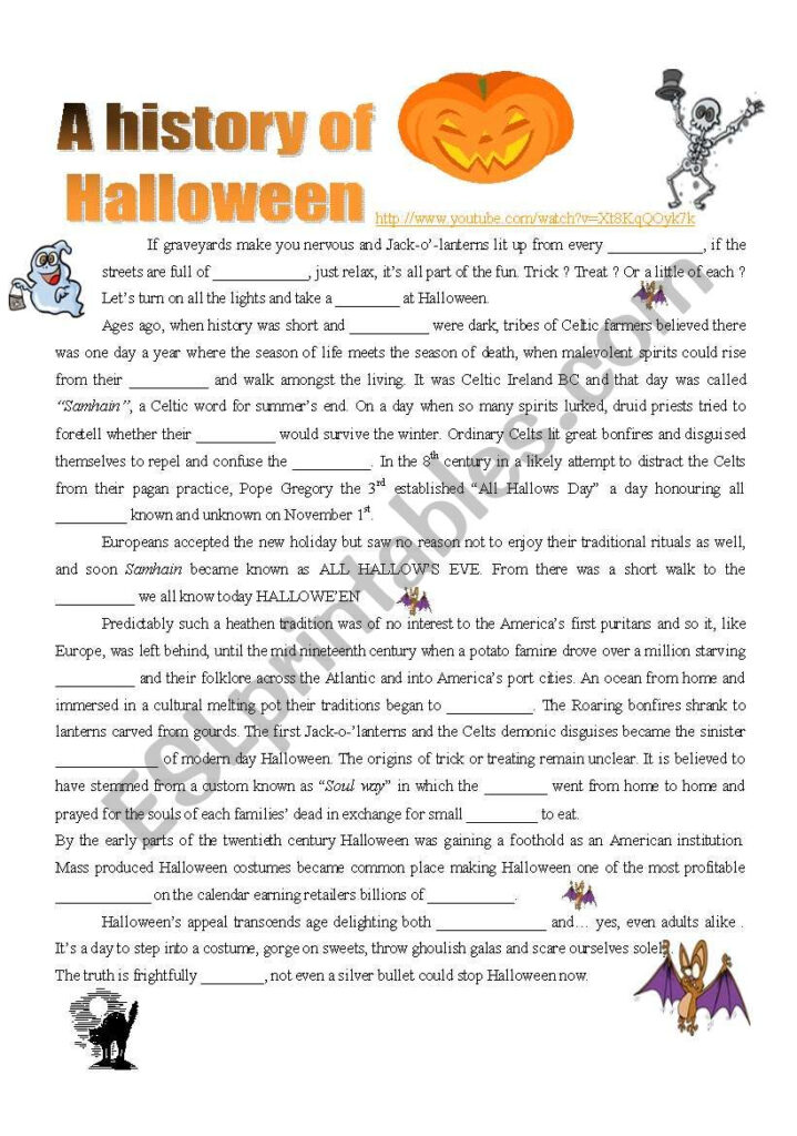 A History Of Halloween : Video ( 4 Pages )   Esl Worksheet