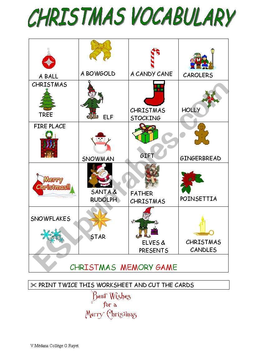 A Memory Game For Christmas - Esl Worksheetvéro33