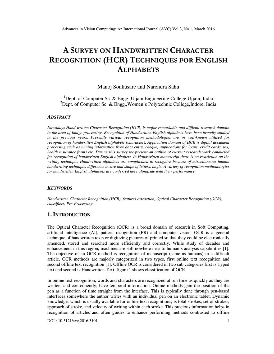 A Survey On Handwritten Character Recognition (Hcr