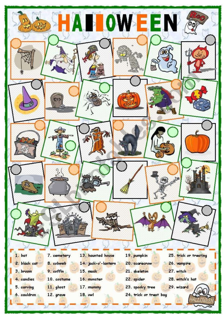 A Worksheet About Vocabulary Related To Halloween. Students