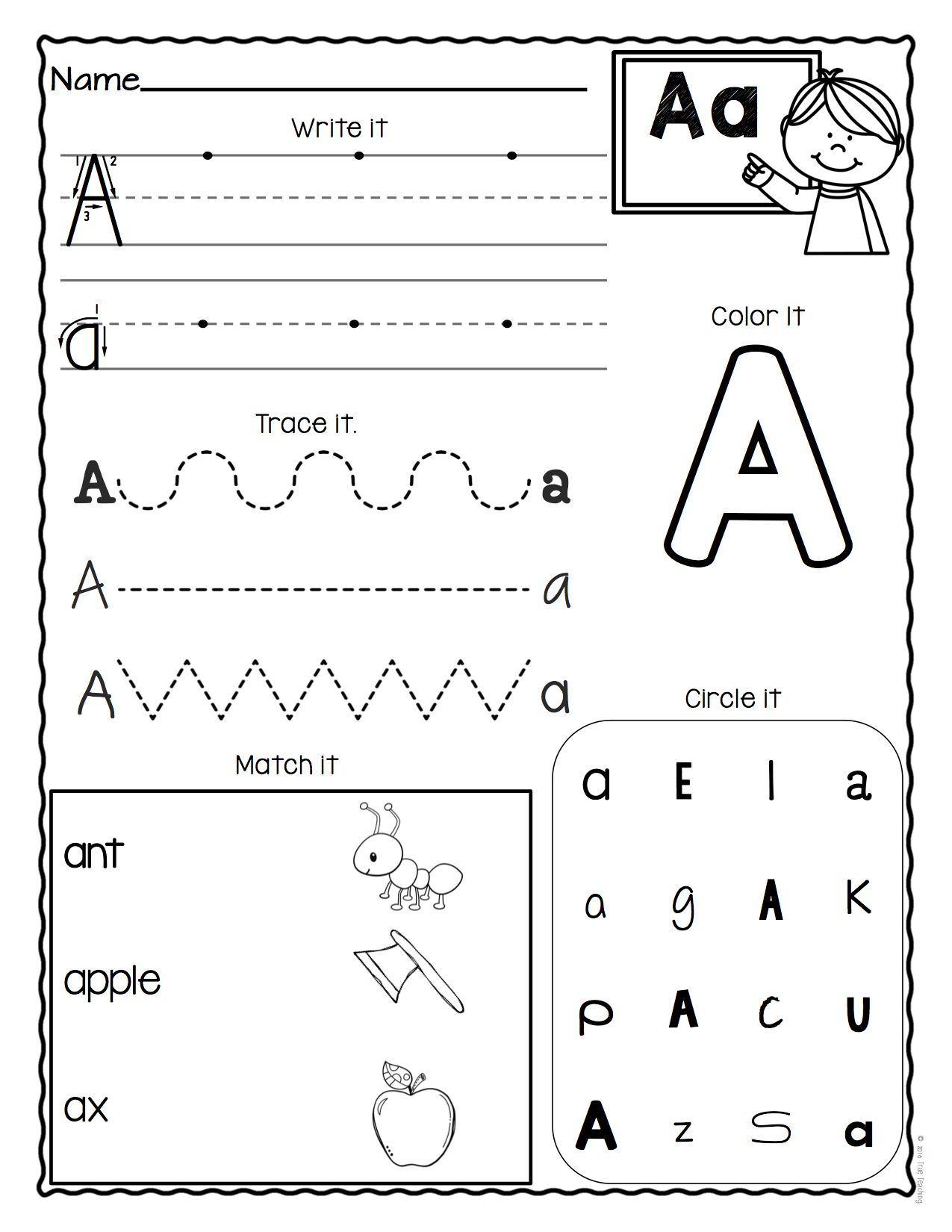 A-Z Letter Worksheetstrue Teaching | Alphabet Worksheets intended for Pre K Alphabet Worksheets