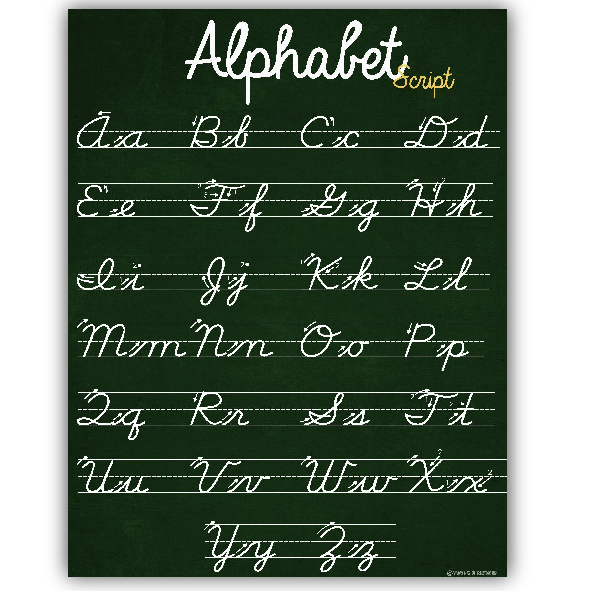 Abc Cursive Script Alphabet Poster Size Small Chart Laminated Teaching  Classroom Decoration Young N Refined