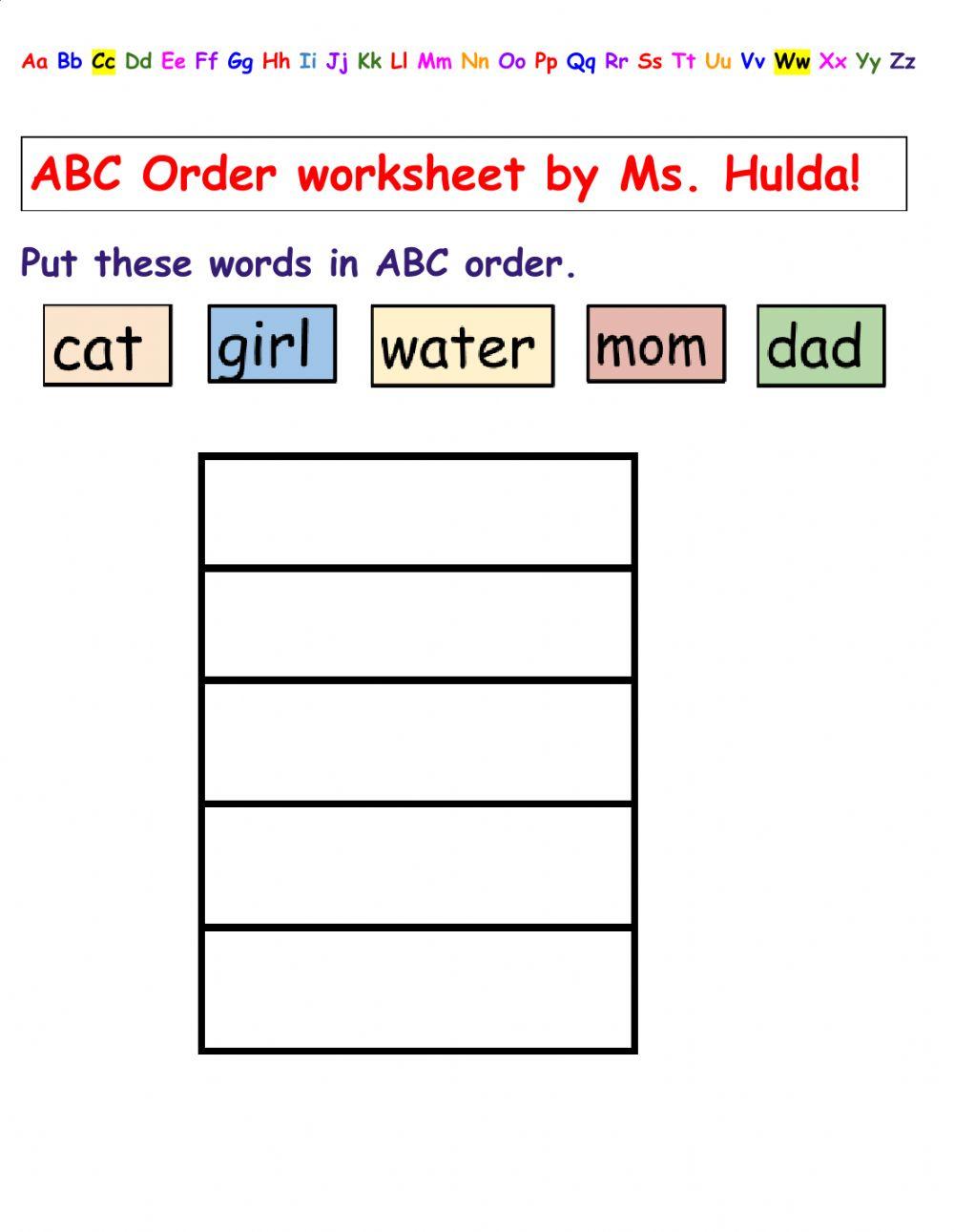 Abc Order- Hard Worksheet
