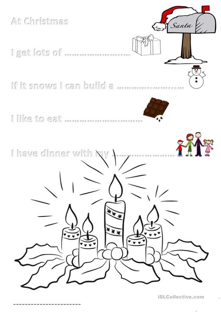 Activity Sheet Christmas For Primary 3   English Esl