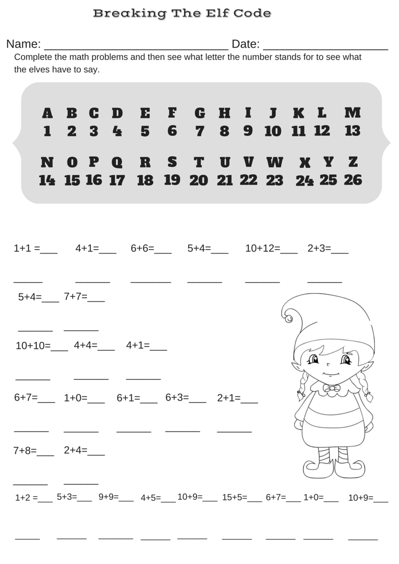 Addition Christmas Code Breaker Worksheet. Break The Elf