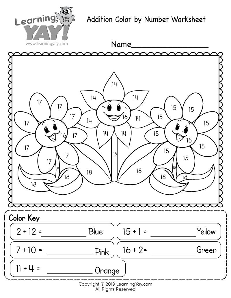 Addition Colornumber Worksheet For 1St Grade Free
