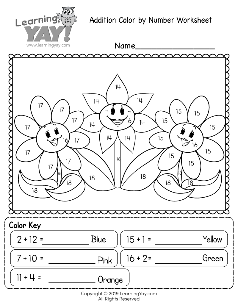 Addition Colornumber Worksheet For 1St Grade Free