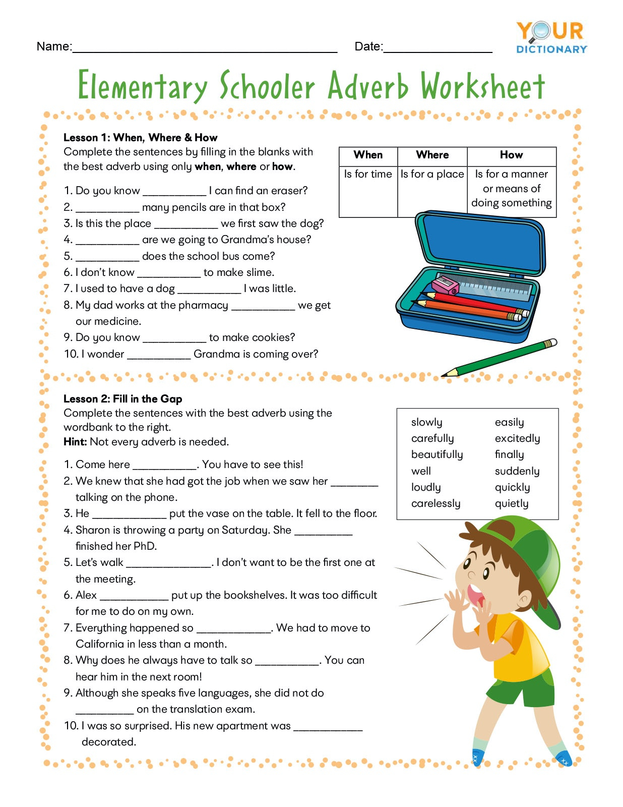 Adverb Worksheets For Elementary And Middle School Adverbs