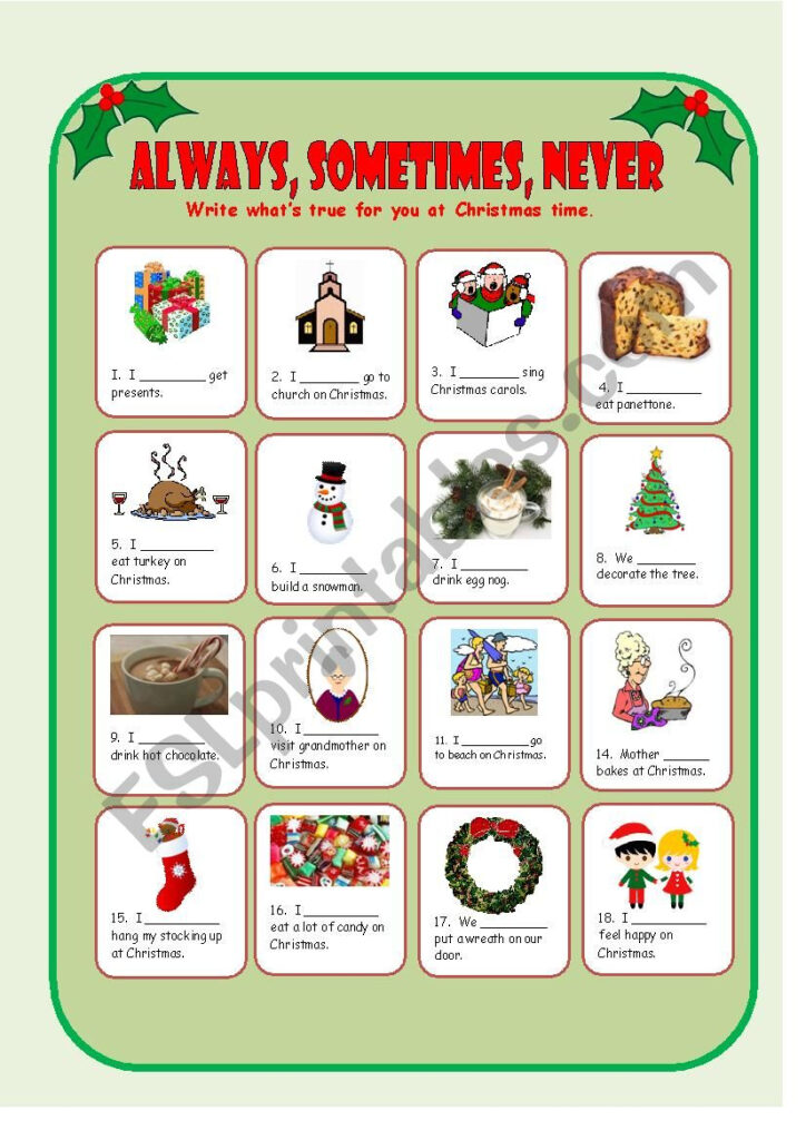 Adverbs Of Frequency, Christmas Traditions   Esl Worksheet
