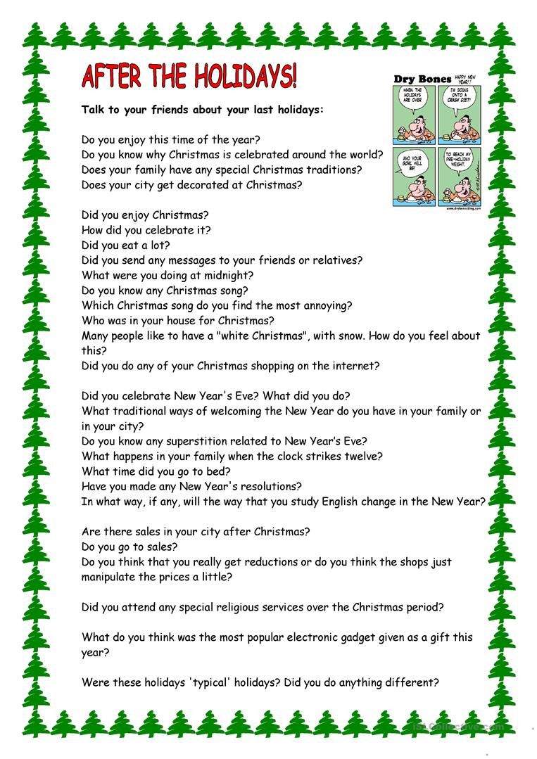After The Holidays - English Esl Worksheets For Distance