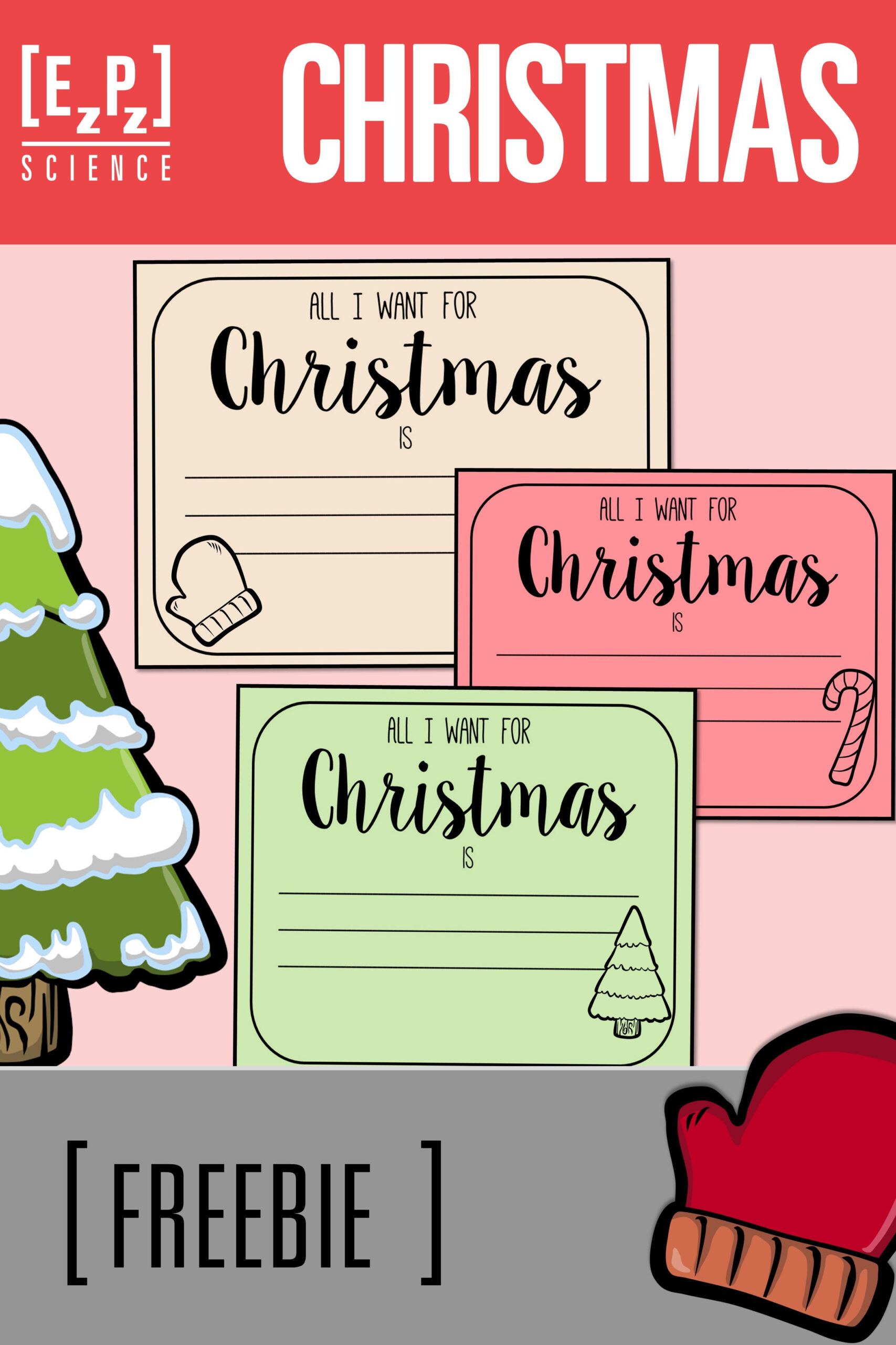 """All I Want For Christmas Is"""" Printable Cards- Freebie"""