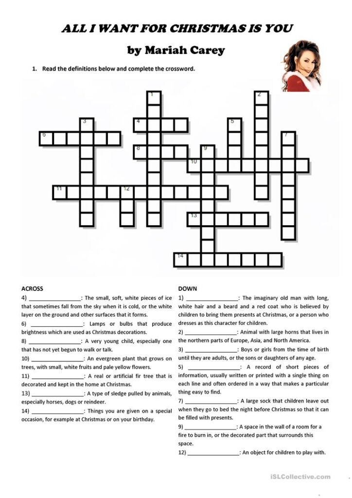 """All I Want For Christmas Is You"""" (Crossword And Song"""