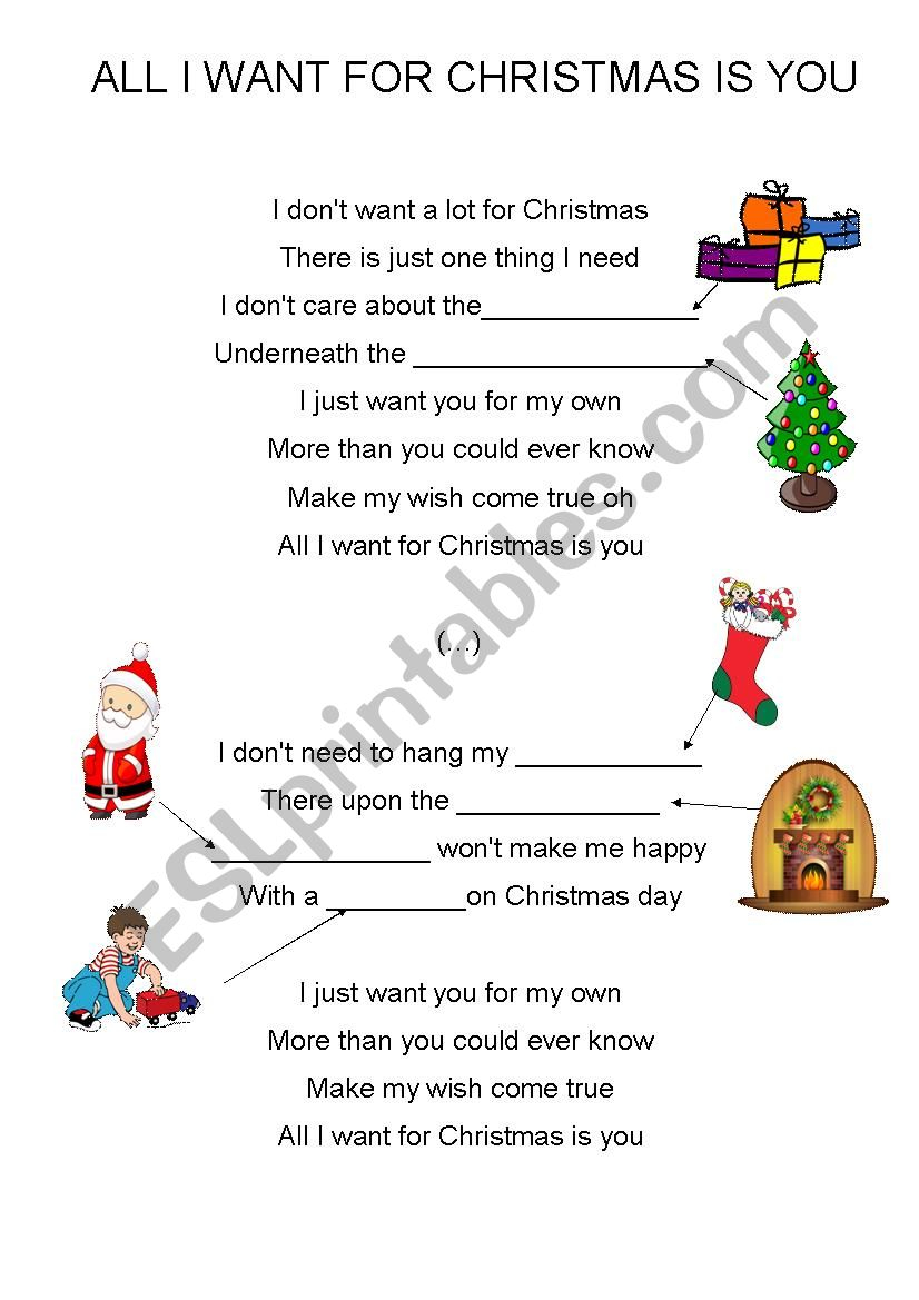 All I Want For Christmas Is You (Easy, For Kids) - Esl