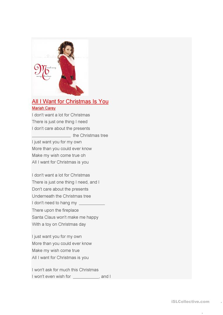 All I Want For Christmas Is You - English Esl Worksheets For
