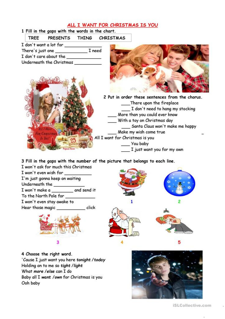 All I Want For Christmas Is You   English Esl Worksheets For