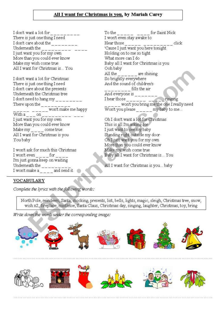 All I Want For Christmas Is You, Mariah Carey   Esl