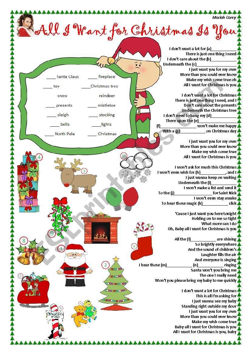 All-I-Want-For-Christmas-Is-You-Present-Simple - Esl