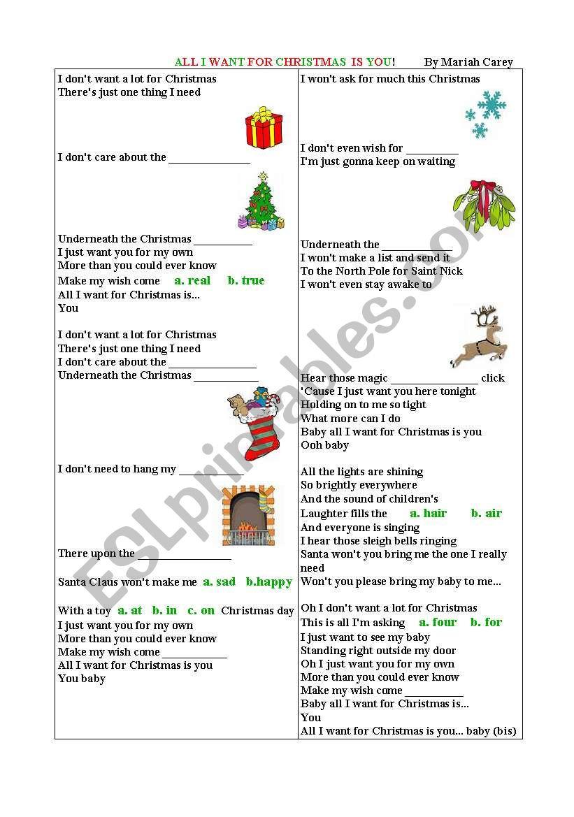 All I Want For Christmas Songmariah Carey - Esl