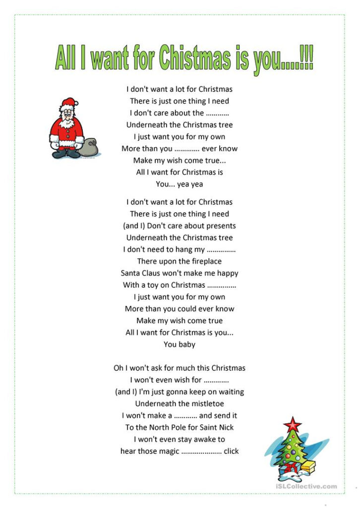 All I Want For Xmas Is You!m.carey   English Esl