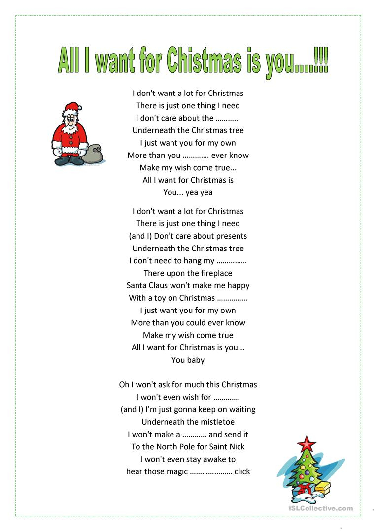 All I Want For Xmas Is You!m.carey - English Esl