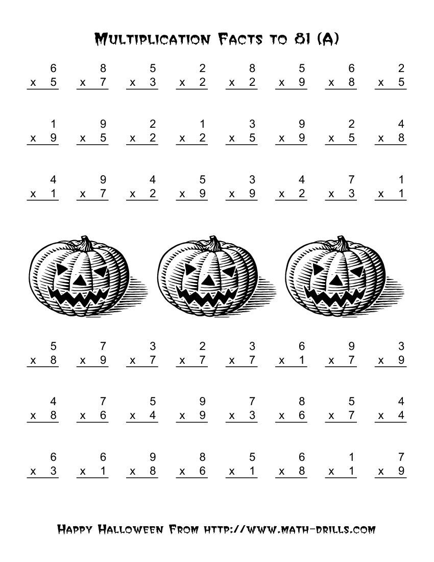All Operations -- Multiplication Facts To 81 (A)   Halloween