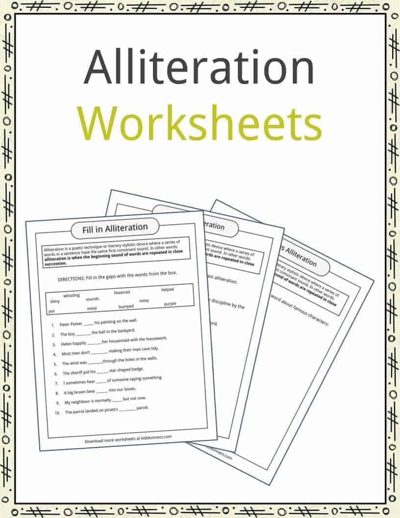 Alliteration Examples, Definition & Worksheets | Kidskonnect