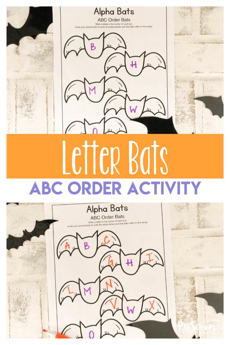 Alpha Bats: Halloween Abc Order Worksheets
