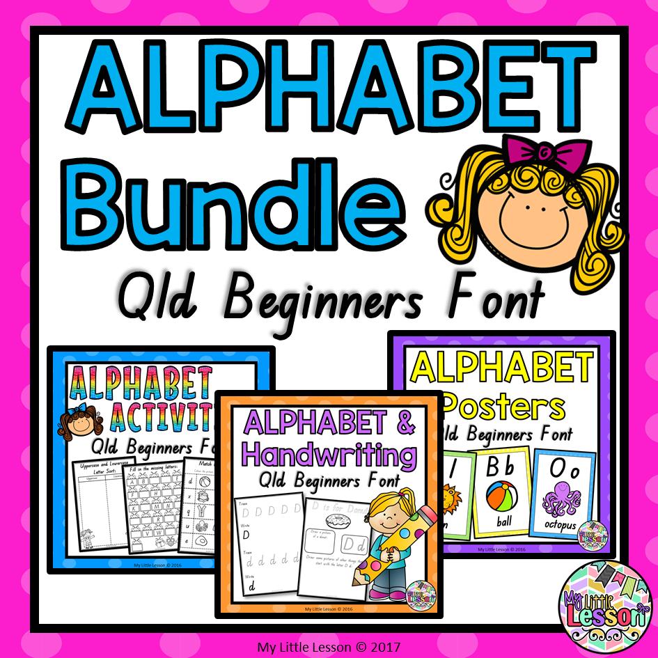 Alphabet Bundle Qld Beginners Font: Posters, Worksheets, Handwriting