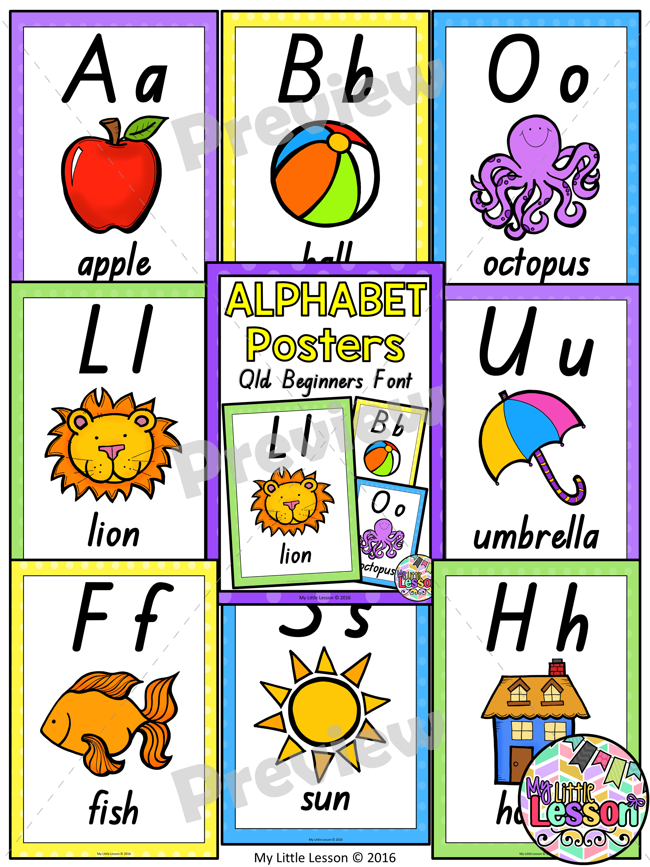 Alphabet Posters Qld Beginners Font