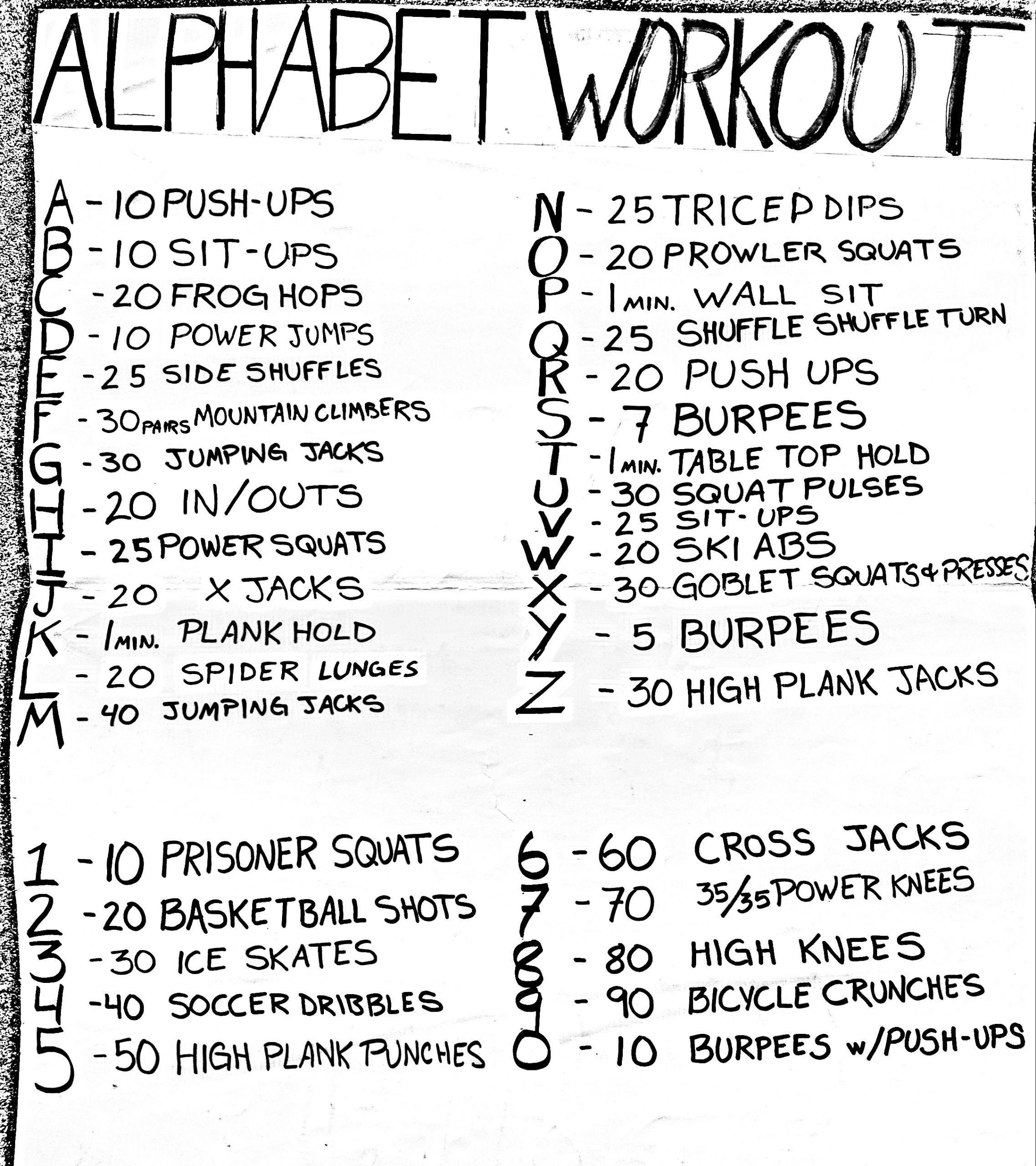 Alphabet Workout throughout Alphabet Exercises Workout