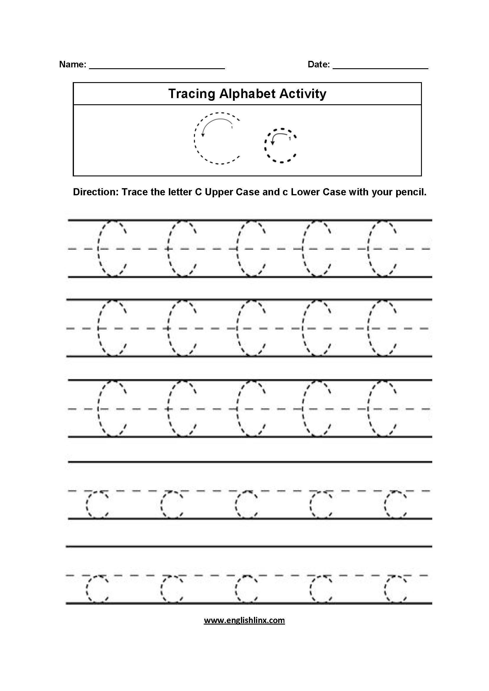 Alphabet Worksheets | Tracing Alphabet Worksheets inside Letter C Tracing Worksheets Pdf