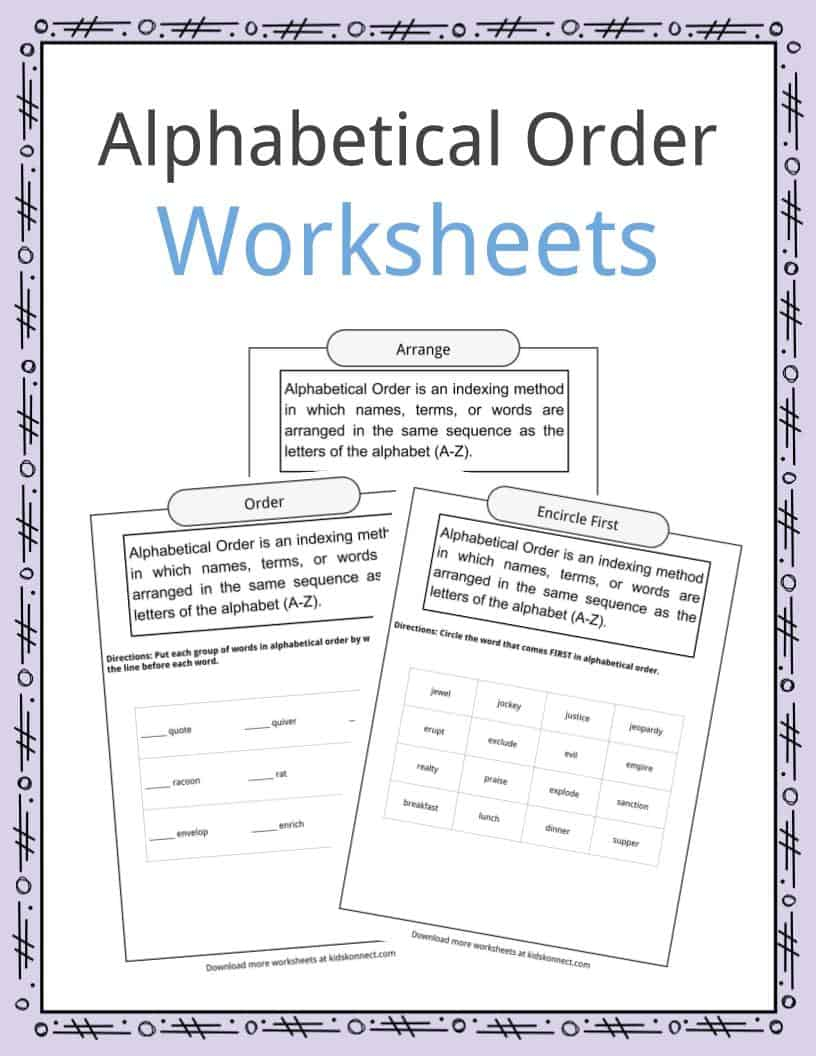 Alphabetical Order Worksheets, Examples & Definition