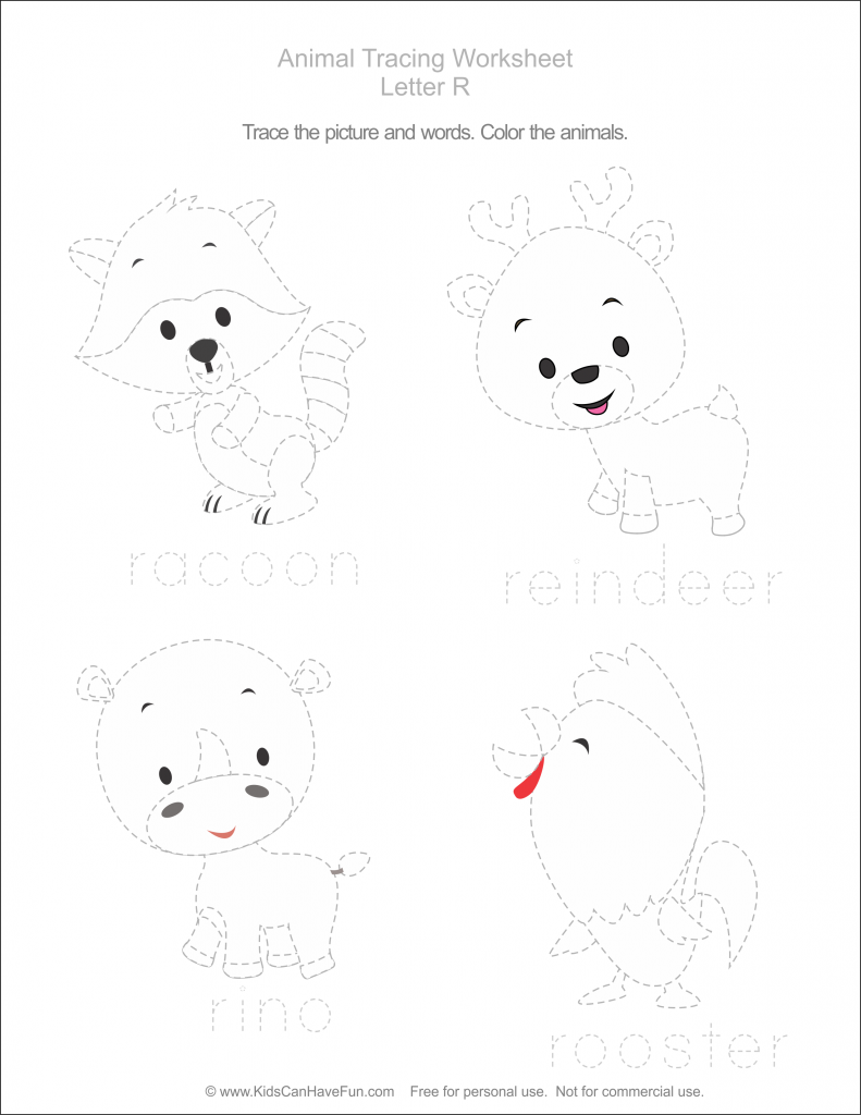 Animal Tracing Pages, Pets, Farm, Zoo, Trace Bugs, Worksheets